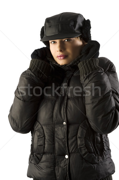 winter woman with black hat Stock photo © carlodapino