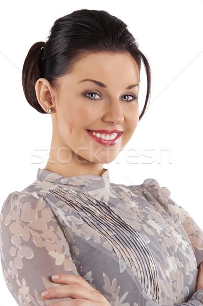 Szép portré mosolygó nő szépség fiatal nő póló Stock fotó © carlodapino