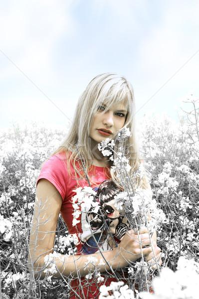 Szőke lány szín mező virágok nő Stock fotó © carlodapino