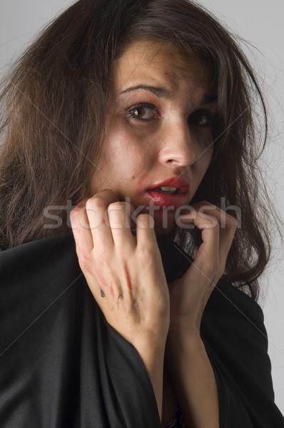 Törött smink fiatal nő félelem verekedés kéz Stock fotó © carlodapino