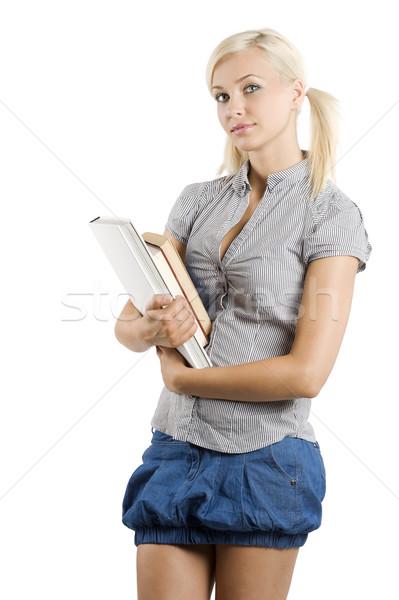 étudiant livre gracieux jeune fille tenue décontractée livres Photo stock © carlodapino