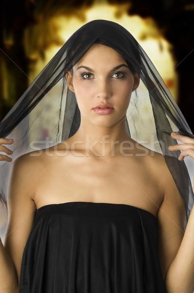 woman in black Stock photo © carlodapino