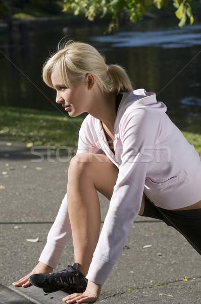 Lány tornaterem ruha aranyos fiatal nő sport Stock fotó © carlodapino