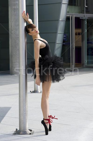 Ballerina schwarz Pol ziemlich groß außerhalb Stock foto © carlodapino