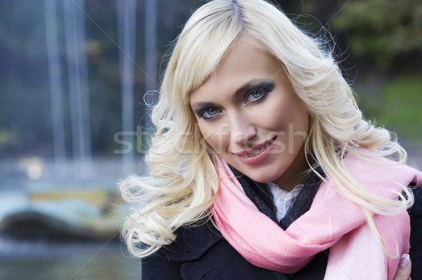 Szőke lány portré szökőkút közelkép divat Stock fotó © carlodapino