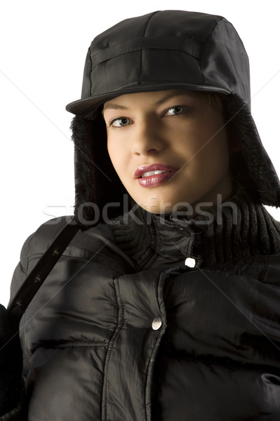 portrait girl with black hat Stock photo © carlodapino