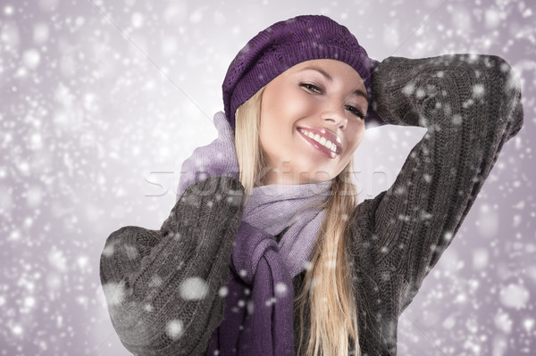 winter girl with scarf and gloves Stock photo © carlodapino