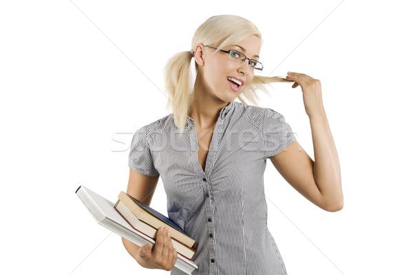Blond student glimlachend meisje bril boek Stockfoto © carlodapino