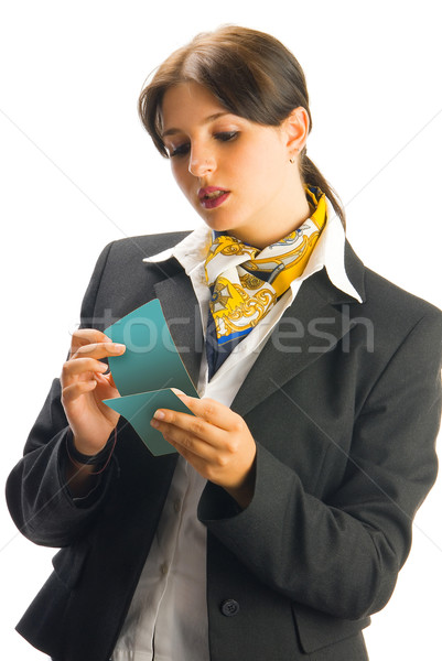 Bilet sevimli hostes siyah takım elbise kadın göz Stok fotoğraf © carlodapino