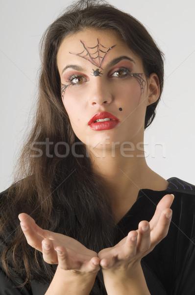 Pająk cute młoda kobieta pajęczyna malowany twarz Zdjęcia stock © carlodapino
