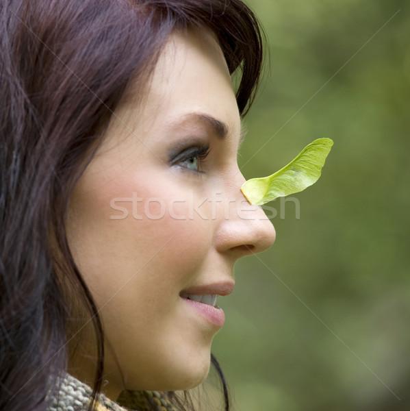 Közelkép portré lány kívül csinos játszik Stock fotó © carlodapino