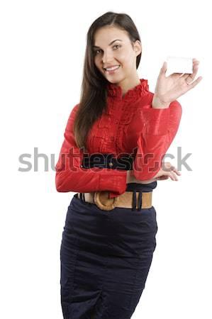 Kártya nő aranyos boldog piros póló Stock fotó © carlodapino