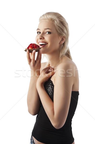 Mosolyog lány édes portré fiatal mosolygó nő Stock fotó © carlodapino