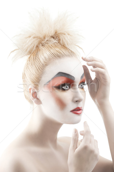 the color makeup as a doll, she is turned pof three quarters Stock photo © carlodapino
