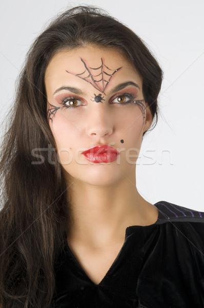 örümcek ağı genç güzel esmer boyalı yüz Stok fotoğraf © carlodapino