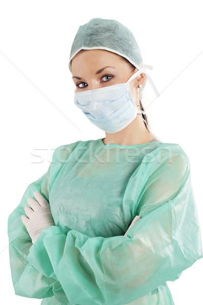 Nővér maszk zöld operáció ruha fehér Stock fotó © carlodapino