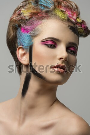 Stock fotó: Szép · szín · smink · gyönyörű · lány · csukott · szemmel · színes