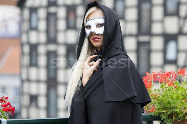 blond with mask Stock photo © carlodapino