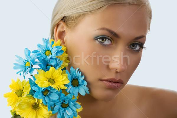 Schoonheid portret mooie jonge blond meisje Stockfoto © carlodapino