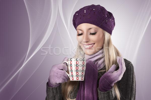 Сток-фото: зима · девушки · горячей · Кубок · чай · довольно
