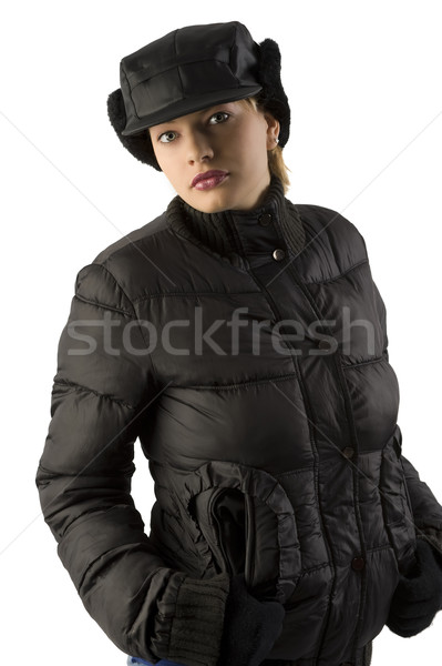 winter woman in black Stock photo © carlodapino