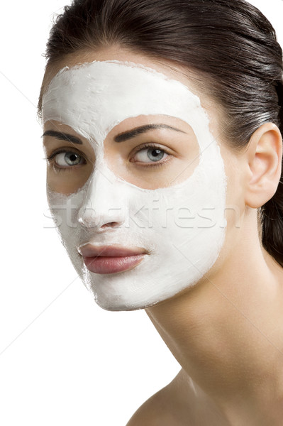 Beauté masque jeune femme traitement de la peau visage femme Photo stock © carlodapino