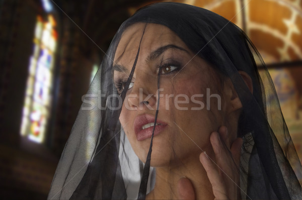 未亡人 教会 かわいい 女性 のような 黒 ストックフォト © carlodapino