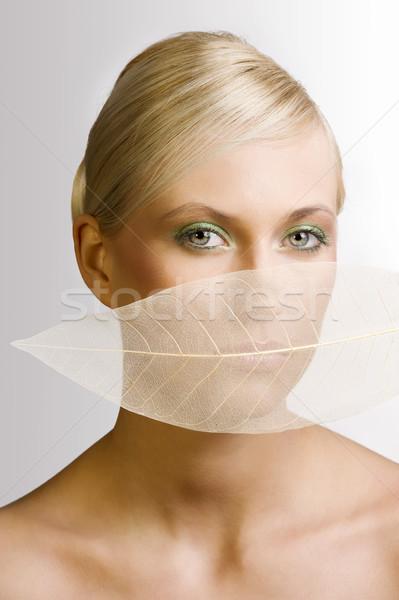 Levél száj divat szépség portré fiatal Stock fotó © carlodapino