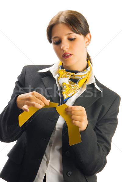 Karşılama sevimli hostes siyah takım elbise bilet Stok fotoğraf © carlodapino