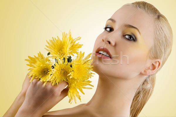 портрет желтый цветок молодые красоту Сток-фото © carlodapino