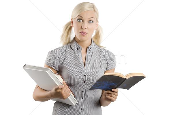 étudiant livre gracieux jeune femme tenue décontractée livres Photo stock © carlodapino
