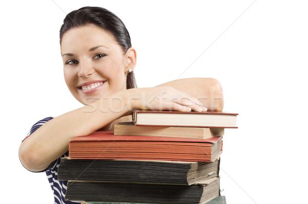 Diák mosolyog könyv közelkép portré aranyos Stock fotó © carlodapino