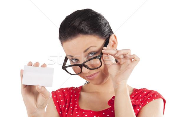 Néz szemüveg fiatal barna hajú piros mutat Stock fotó © carlodapino