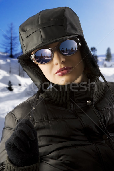 girl with black hat and sunglasses Stock photo © carlodapino
