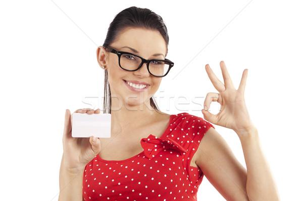Stockfoto: Mooie · vrouw · tonen · jonge · cute · vrouw · rode · jurk