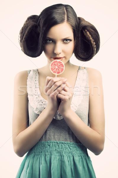 Vintage девушки леденец право хитрый Сток-фото © carlodapino