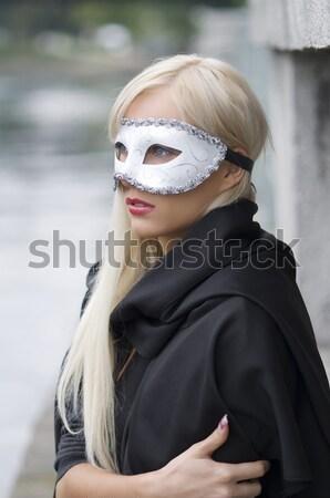 Venezia stile maschera ragazza fiume Foto d'archivio © carlodapino