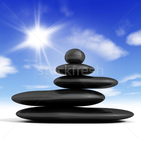Zen сбалансированный пород Blue Sky Сток-фото © carloscastilla