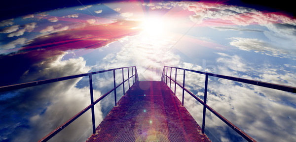 Sky and floor gateway or small bridge background Stock photo © carloscastilla