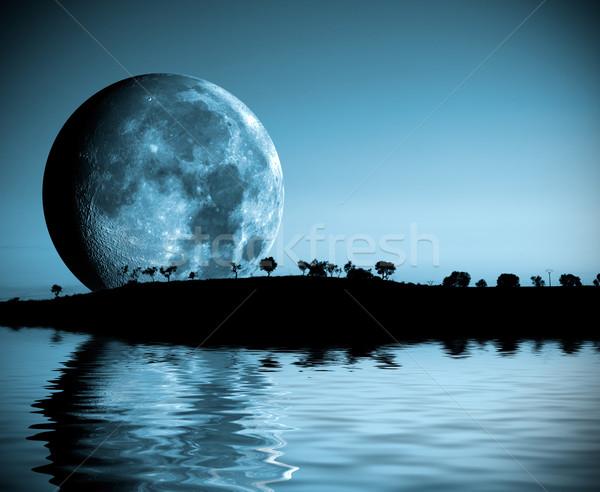 Luna piena panorama notte lago Foto d'archivio © carloscastilla