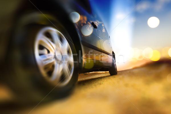 Utazás út vezetés díszlet kerekek autógumi Stock fotó © carloscastilla