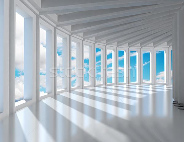 室內 建築 空的 現代 藍天 商業照片 © carloscastilla