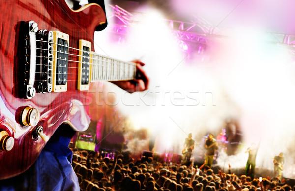 Yaşamak müzik oyuncu kamu parti gitar Stok fotoğraf © carloscastilla