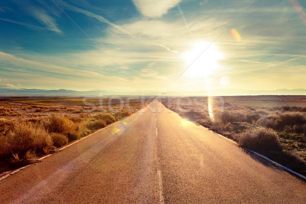 út utazás tájkép autó festői naplemente Stock fotó © carloscastilla