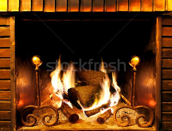 Haard afbeelding hout brandend muur Stockfoto © carloscastilla