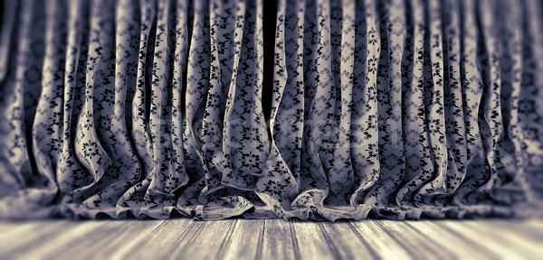 ткань цветочный шторы Vintage деревянный пол текстуры Сток-фото © carloscastilla