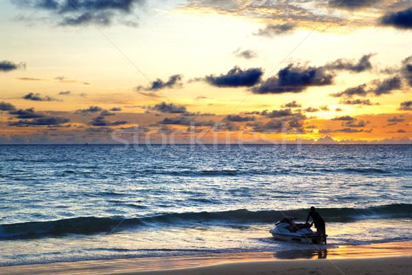 ビーチ 日没 海景 空 水 太陽 ストックフォト © carloscastilla