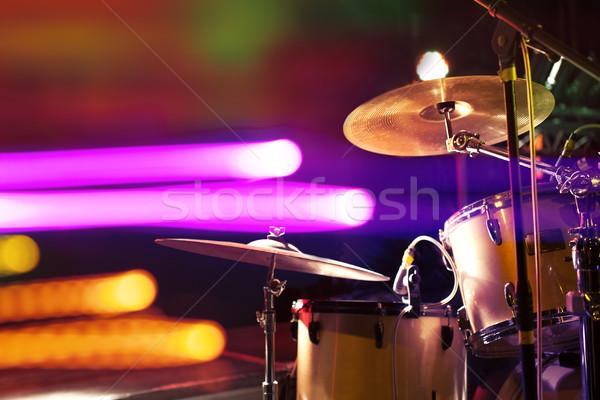 Trommel Bühne leben Musik Konzert Lichter Stock foto © carloscastilla
