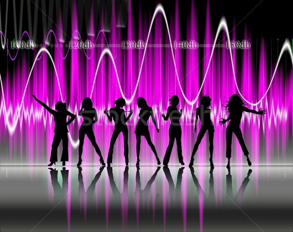 Siluet dans güzel kadın müzik parti soyut Stok fotoğraf © carloscastilla