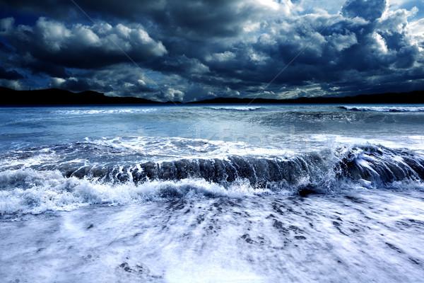 Tempestade paisagem tempestuoso marinha oceano escuro Foto stock © carloscastilla